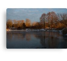 Gray and Amber - an Early Winter Morning on the Lake Shore Canvas Print