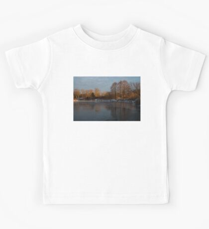 Gray and Amber - an Early Winter Morning on the Lake Shore Kids Tee