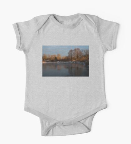 Gray and Amber - an Early Winter Morning on the Lake Shore One Piece - Short Sleeve