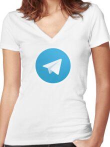 Telegram Messenger Women's Fitted V-Neck T-Shirt