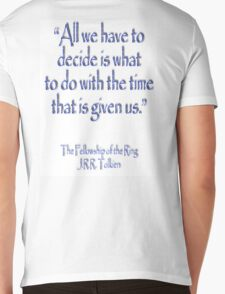 Tolkien, All we have to decide, The Fellowship of the Ring Mens V-Neck T-Shirt