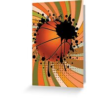 Basketball Ball on Rays Background Greeting Card