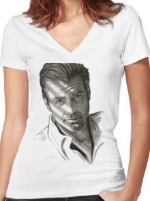 G. Clooney in black and white Women's Fitted V-Neck T-Shirt