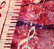 Piano Keyboard with Music Notes Grunge Sticker