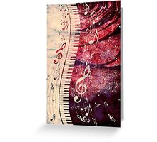 Piano Keyboard with Music Notes Grunge Greeting Card