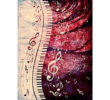 Piano Keyboard with Music Notes Grunge Photographic Print