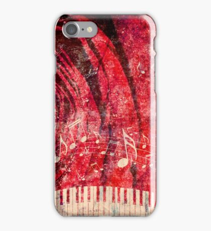 Piano Keyboard with Music Notes Grunge 2 iPhone Case/Skin
