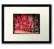 Piano Keyboard with Music Notes Grunge 2 Framed Print
