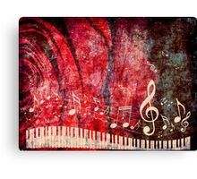 Piano Keyboard with Music Notes Grunge 2 Canvas Print
