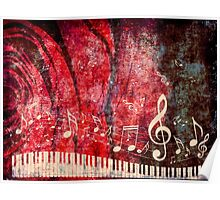 Piano Keyboard with Music Notes Grunge 2 Poster