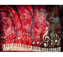 Piano Keyboard with Music Notes Grunge 2 Photographic Print