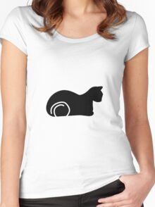 Whimsical Black Cat Vector Illustration Women's Fitted Scoop T-Shirt