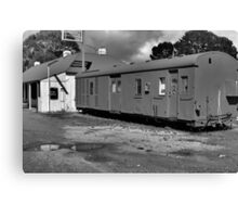 Old train carriage : black and white Canvas Print