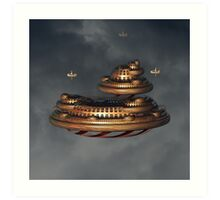 Gold and Red Fractal Floating City Art Print