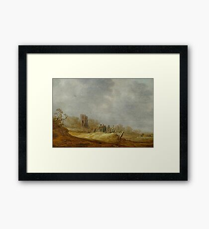 GOYEN, JAN VAN (Leiden  Haag) Dune landscape with the Eik en Duinen ruins Framed Print
