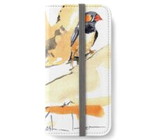 Zebra Finches on a branch iPhone Wallet/Case/Skin