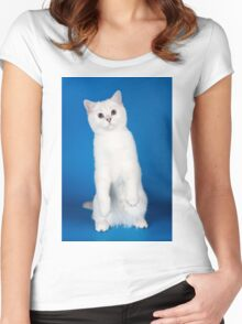 Charming cute white fluffy kitten cat Women's Fitted Scoop T-Shirt
