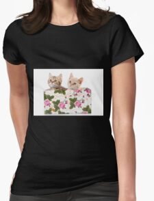 Charming fluffy red kitten British cat Womens Fitted T-Shirt