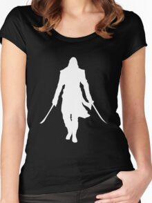 Assassin's Creed edward kenway silhouette white Women's Fitted Scoop T-Shirt