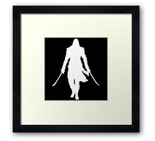 Assassin's Creed edward kenway silhouette white Framed Print