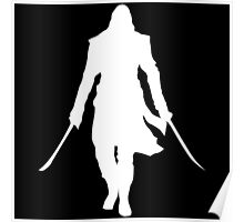 Assassin's Creed edward kenway silhouette white Poster