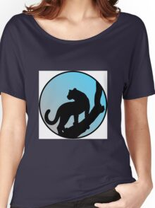 Blue cougar on a tree Women's Relaxed Fit T-Shirt