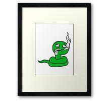 kiffen pothead smoke weed cannabis joint drugs cannabis marijuana bong snake comic cartoon funny Framed Print
