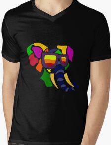 Cool Funny Colorful Elephant Abstract Mens V-Neck T-Shirt