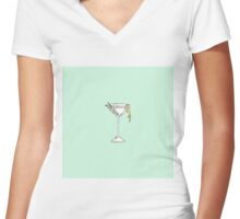 Hand Painted Watercolor Olive Martini Cocktail Women's Fitted V-Neck T-Shirt