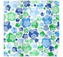 tender blue floral pattern Poster