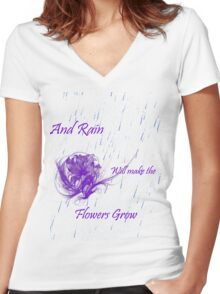 Flowers grow Women's Fitted V-Neck T-Shirt