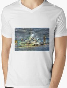 HMS Belfast and Tower Bridge Mens V-Neck T-Shirt