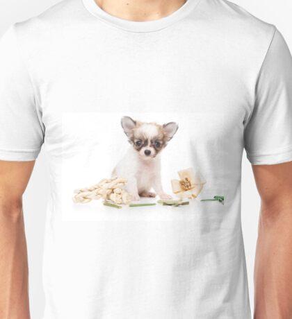Cute fluffy white dog puppy chihuahua Unisex T-Shirt