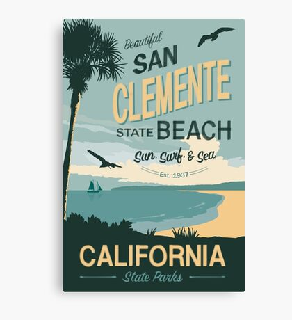 San Clement State Beach Travel Poster Canvas Print