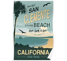 San Clement State Beach Travel Poster Poster