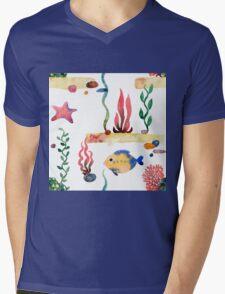 Sea pattern Mens V-Neck T-Shirt