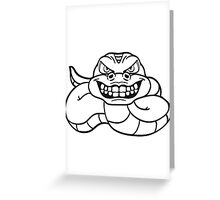 grin angry dangerous snake constrictor comic cartoon design Greeting Card