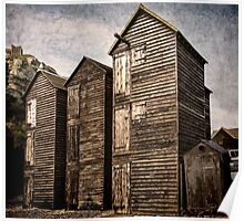 Fishermens Huts at Hastings, East Sussex Poster