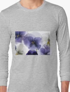 backlit pansy petals on a lightbox  Long Sleeve T-Shirt