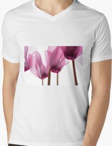 backlit violet petals (Cyclamen) on a lightbox Mens V-Neck T-Shirt