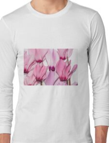 backlit violet petals (Cyclamen) on a lightbox Long Sleeve T-Shirt