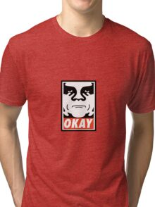 OBEY GIANT - OKAY Shepard Fairey Tri-blend T-Shirt