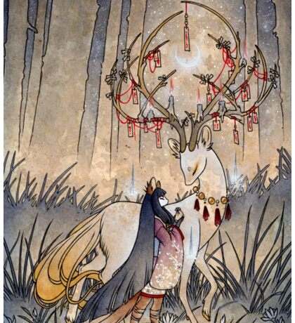 The Wish - Kitsune Fox Deer Yokai Sticker