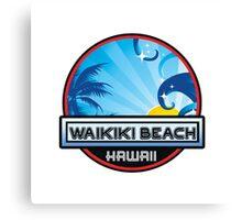 Waikiki Beach Hawaii Surfing Wave Palm Tree Surf Travel Vacation Canvas Print