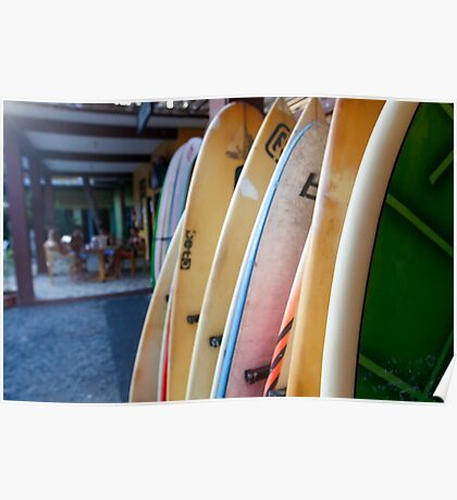 stack of Surfboards on the beach. Photographed in El tunco, El Salvador  Poster