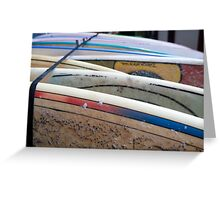 stack of Surfboards on the beach. Photographed in El tunco, El Salvador  Greeting Card
