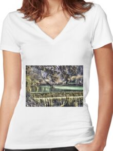 Cheddar Gorge Somerset - HDR Women's Fitted V-Neck T-Shirt