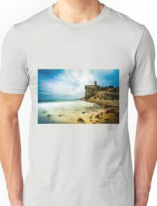 Atop the cliff, a tower Unisex T-Shirt