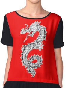 Dragon, Snake, Oriental, Far East, on Black Chiffon Top