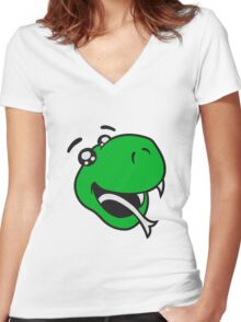 face head sweet little cute child baby snake comic cartoon Women's Fitted V-Neck T-Shirt